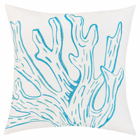 Bright Blue Coral Indoor/Outdoor Embroidered Pillow