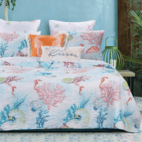 Bright Coral Reef 2 Piece Quilt Set - Twin