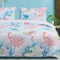 Bright Coral Reef 3 Piece Quilt Set - King