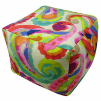 Bright Paisley Indoor Square Pouf