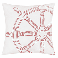 Bright Red Ship's Wheel Indoor/Outdoor Embroidered Pillow