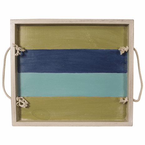 Bright Stripe Wood Tray with Rope Handles - 20 Inch