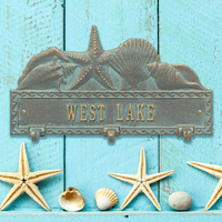 Bronze and Verdigris Personalized Sea Shell Hook Plaque