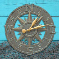 Bronze Verdigris Compass Rose Indoor & Outdoor Clock -16 Inch