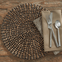 Brown Braided Hyacinth Round Placemats - Set of 4
