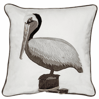 Brown Pelican Applique Pillow