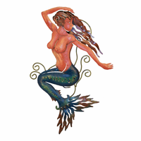 Brunette Mermaid Metal Wall Art