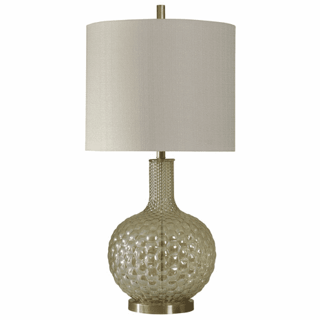 Bubble Glass and Gold Base Table Lamp