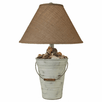 Bucket of Shells Table Lamp with Burlap Shade