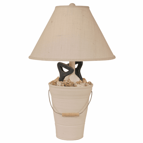Bucket of Shells Table Lamp with Navy Shovels