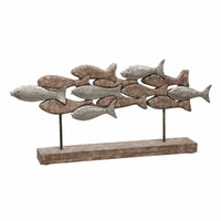 Bundle of Fish Carved Wood Sculpture