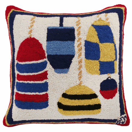Buoys Hooked Wool Pillow