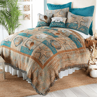 Calming Coastal Tapestry Coverlet - Queen - CLEARANCE