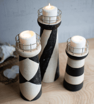 Lighthouse Clay Candle Holders - Set of 3