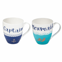 Captain and Mermaid Coffee Mugs - Set of 2