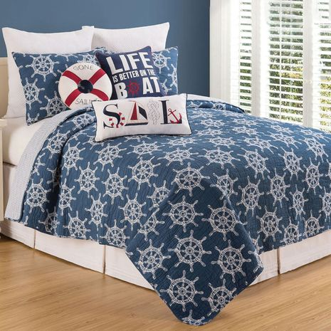 Captain's Wheels Quilt Set - Twin