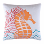 Caribbean Dreams Orange Seahorse Pillow