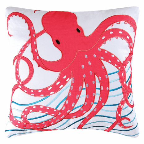 Caribbean Dreams Pink Octopus Pillow