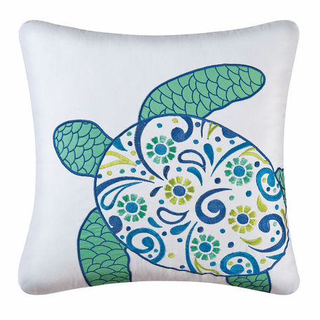Caribbean Turtle Embroidered Accent Pillow