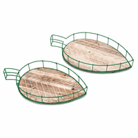 Carved Leaf Trays - Set of 2