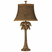 Carved Style Palm Tree Table Lamp with Rattan Shade