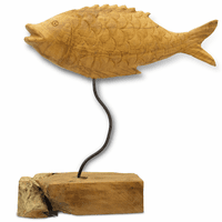 Carved Teak Fish with Base