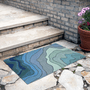 Cascading Waves Indoor/Outdoor Blue Rug - 2 x 3