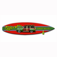 Catch a Wave Surfboard Wood Personalized Sign - 12 x 44
