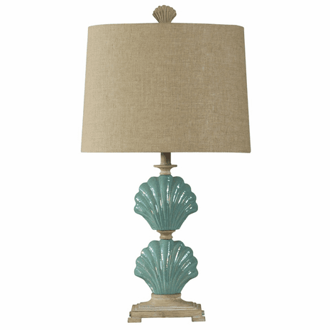 Ceramic Blue Clamshell Table Lamp