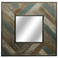 Chevron Wooden Slat Framed Mirror