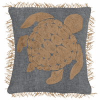 Chic Sea Turtle Embroidered Pillow