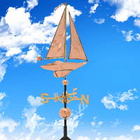 Classic Directions Polished Copper Sailboat Weathervane