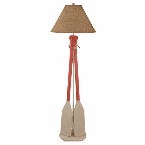 Classic Red Paddles & Rope Floor Lamp with Burlap Shade