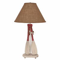 Classic Red Paddles & Rope Table Lamp with Burlap Shade