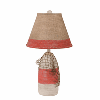 Classic Red Small Buoy & Net Table Lamp with Burlap Shade