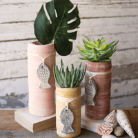 Clay Fish Pendant Planters - Set of 3