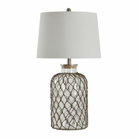 Clear Seeded Glass & Netting Table Lamp