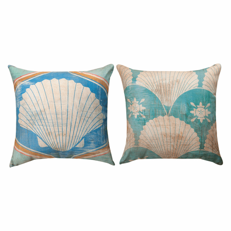 Coastal Gypsy Shell Reversible Pillow