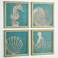 Coastal Icons Glass Wall D�cor - Set of 4 - CLEARANCE