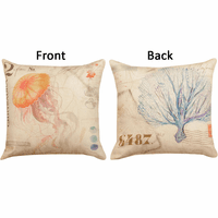 Coastal Impressions Sea Fan & Jellyfish Reversible Pillow