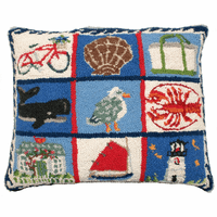 Coastal Quilt Hooked Wool Pillow