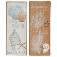 Coastal Shell Wood Wall Art - Set of 2 - CLEARANCE