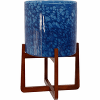 Cobalt Bubbles Glass Planter on Wood Stand