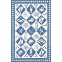 Colonial Blue and Ivory Nautical Panel Rug Collection