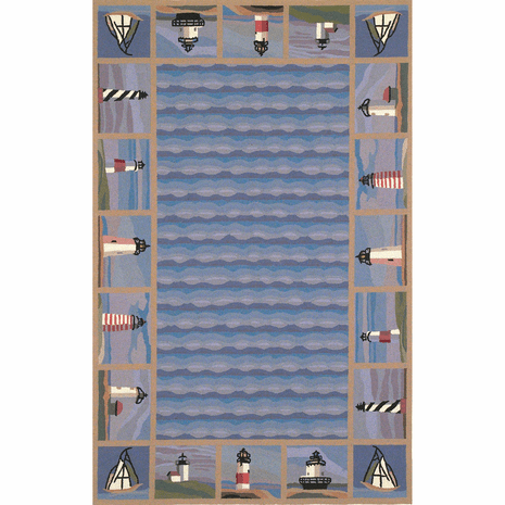Colonial Blue Lighthouse Waves Rug - 5 x 8