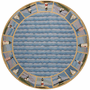 Colonial Blue Lighthouse Waves Rug - 8 Ft Round