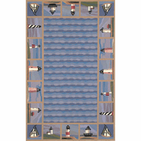 Colonial Blue Lighthouse Waves Rug - 8 x 11