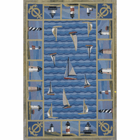 Colonial Blue Lighthouses Rug Collection
