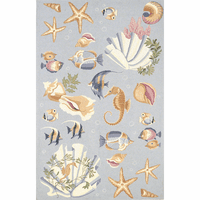 Colonial Light Blue Ocean Life Rug Collection