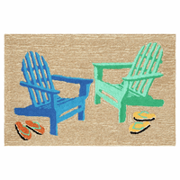 Colorful Beach Chairs Rug - 3 x 4